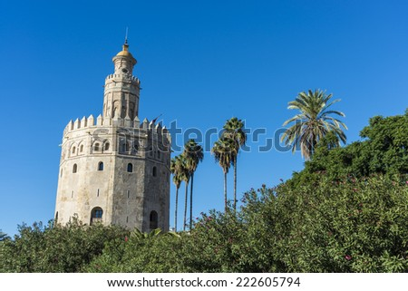 Gold Tower (Torre del Oro), a dodecagonal military watchtower in Seville, southern Spain, built by the Almohad dynasty in order to control access to Seville via the Guadalquivir river.