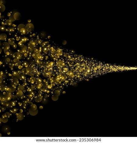 gold trail glitter background - stock photo