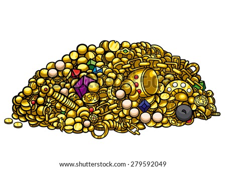 gold treasure illustration pile gold treasure stock