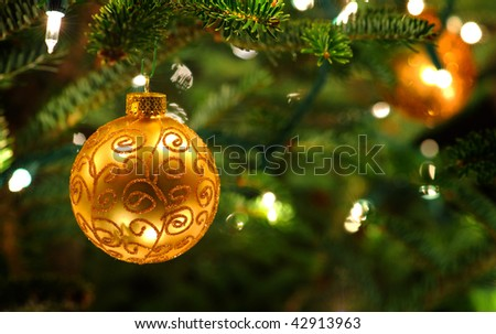 Gold tree ornament - stock photo