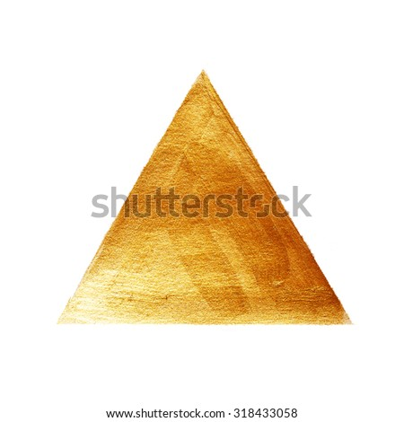 Gold Triangle Watercolor Texture Paint Stain Abstract Illustration. Shining Brush Stroke Shape For You Amazing Design Project