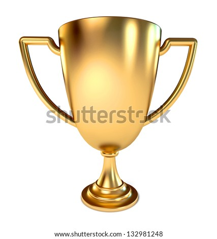 Gold Trophy Cup. Conceptual illustration. Isolated on white background. 3d render - stock photo