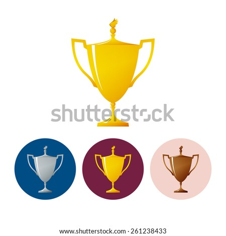 Gold trophy cup on white background , set of three round colorful icons  cup of winner