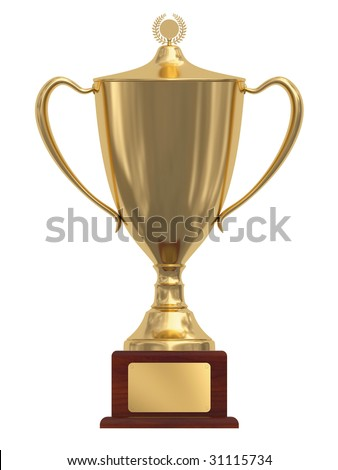 Gold trophy cup on wood pedestal with blank golden plate isolated on white. High resolution 3D image