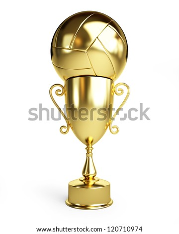 Gold Trophy Cup volleyball on a white background - stock photo