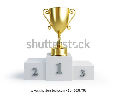 gold trophy cup winners pedestal on a white background - stock photo
