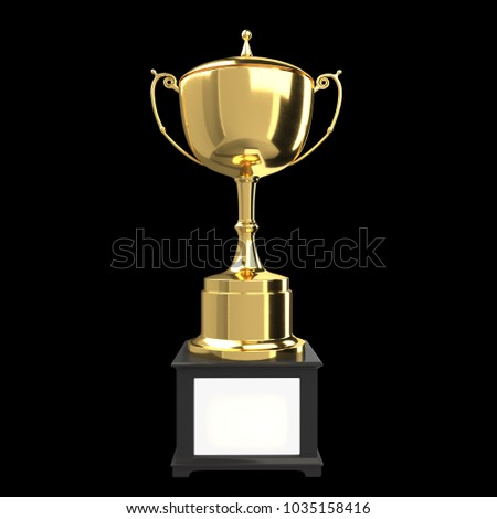 Gold Trophy Isolate With Black Background Include Cilpping Path 3d Illustration