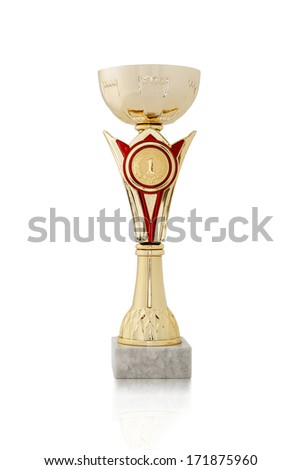 Gold trophy or cup on a white background waiting to be awarded as a prize to the winner of a competition - stock photo