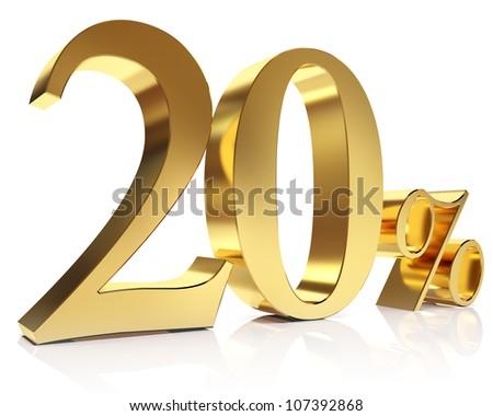 Gold twenty percent discount symbol - stock photo