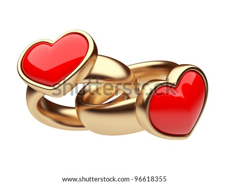 Gold two ring with red heart 3D. Love concept. Isolated on white background - stock photo