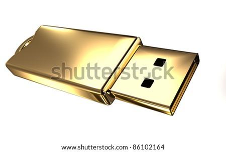 Gold USB flash drive - stock photo