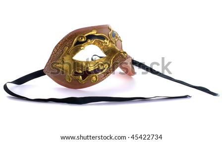 Gold Venetian Mask. Isolated over white background - stock photo