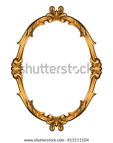 Gold vintage frame -Clipping Path - stock photo