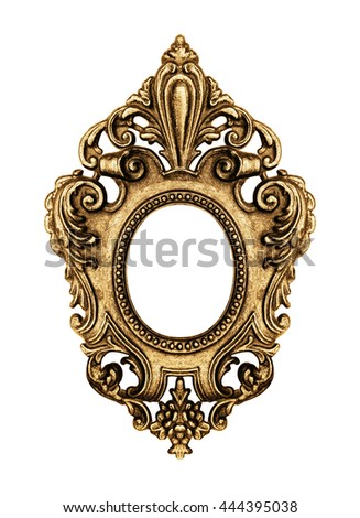 Gold vintage frame isolated on white background -Clipping Path - stock photo