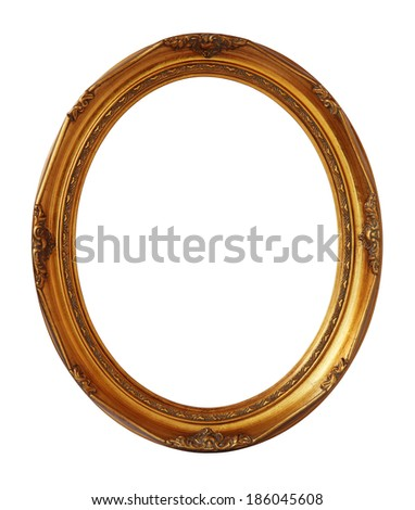 Gold vintage oval photo wooden frame isolated with clipping path. - stock photo
