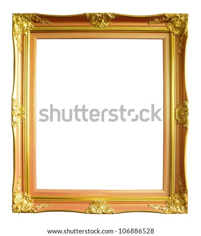 Gold vintage photo frame over white background - stock photo