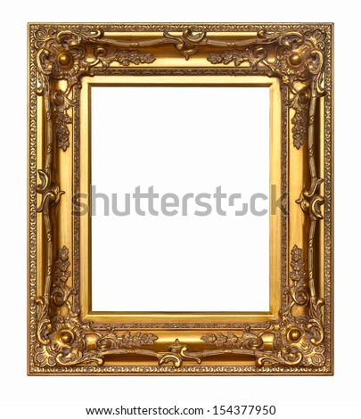 Gold vintage picture frame isolated on white background. - stock photo