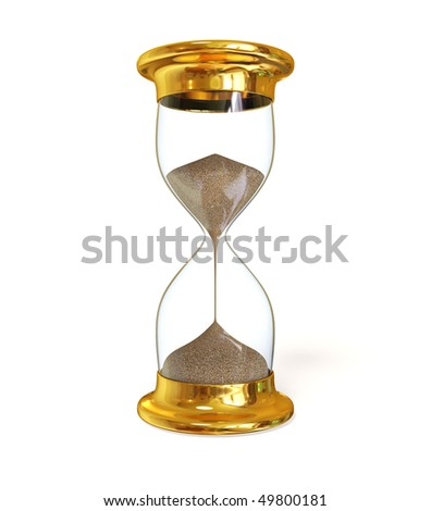 gold vintage sandglass on white background isolated