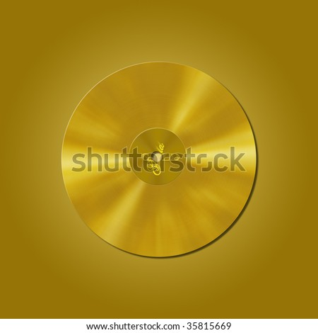 gold vinyl record isolated on gold background