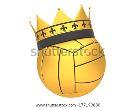 Gold volleyball with crown on a white background - stock photo