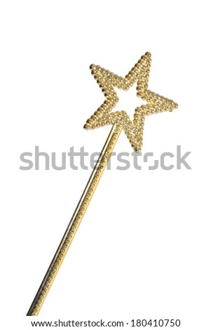 gold want with start and jewels on white  - stock photo