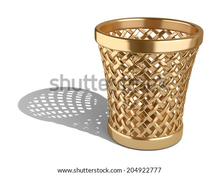 Gold wastepaper basket empty isolated on a white background. 3d rendering illustration