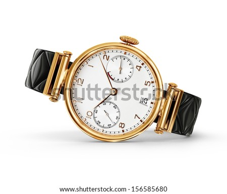 gold watch isolated on a white background