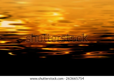 Gold water background with gradient to black - stock photo