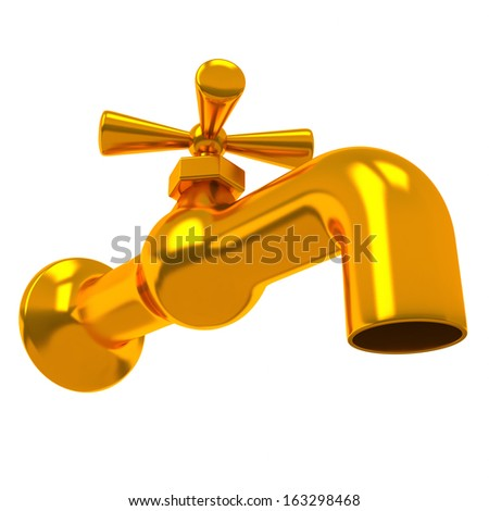 Gold water tap 3d