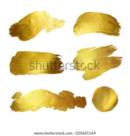 Gold watercolor texture paint stain abstract illustration set. Shining brush stroke for you amazing design project - stock photo
