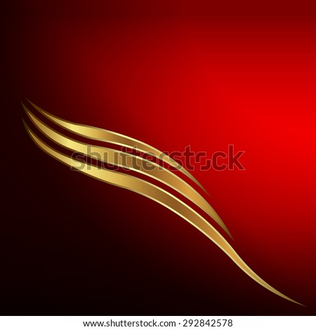 Gold waves card - stock photo