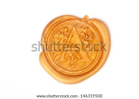 Gold wax seal with monogram letter A isolated on white  - stock photo