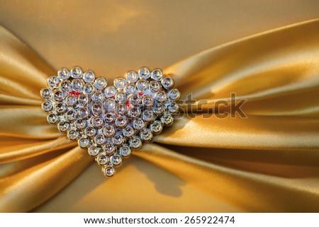 gold wedding heart background - stock photo