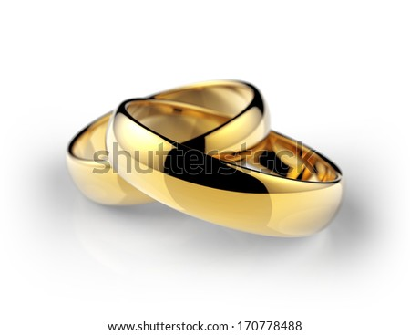 gold wedding ring - stock photo