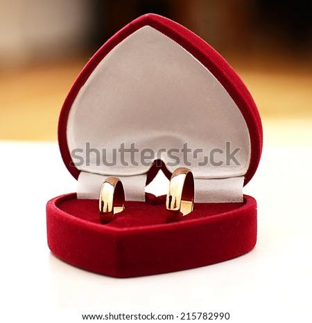 Gold wedding ring. - stock photo