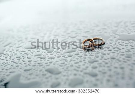 gold wedding rings  - stock photo