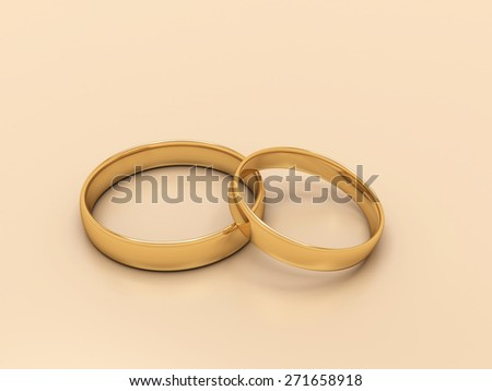 Gold wedding rings, 3d render - stock photo