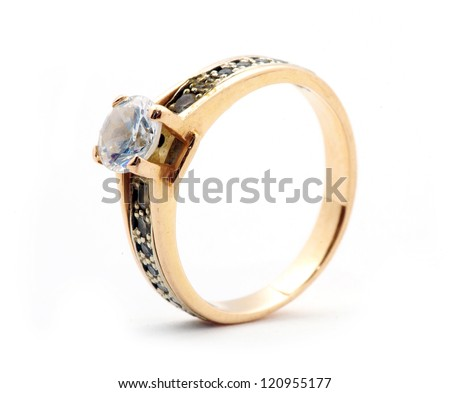 Gold wedding rings isolated on white background