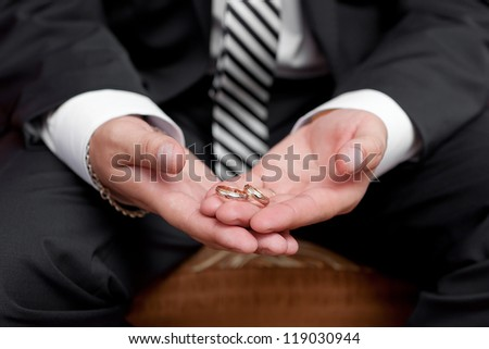 Gold wedding rings on a hand of the groom