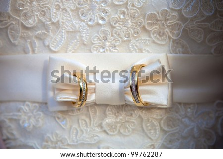 Gold wedding rings on a wedding dress of the bride.