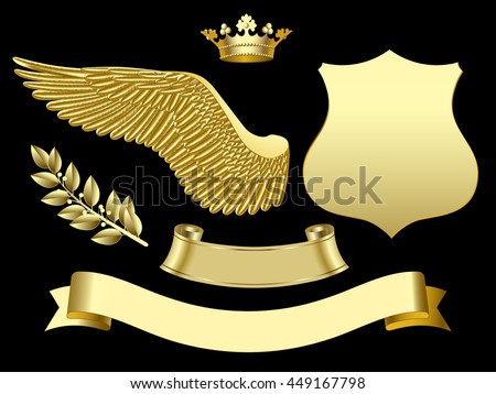 Gold wing, crown, sign, ribbon and laurel branch. Classic design elements.  - stock photo