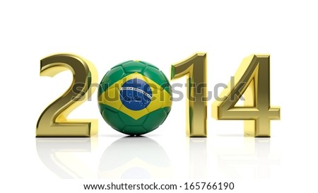 Gold 2014 with Brazilian soccer ball isolated on white - stock photo