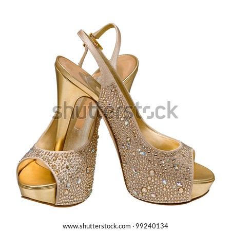 gold women's shoes isolated on white background - stock photo