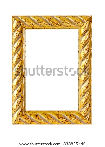 Gold wooden frame isolated with clipping path included