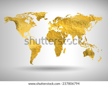 Gold world map - stock photo