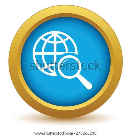 Gold world scan icon on a white background