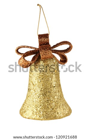 gold xmas bell isolated on white background - stock photo