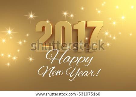 Gold 2017 year type and greetings on a bright golden background - 3D illustration
