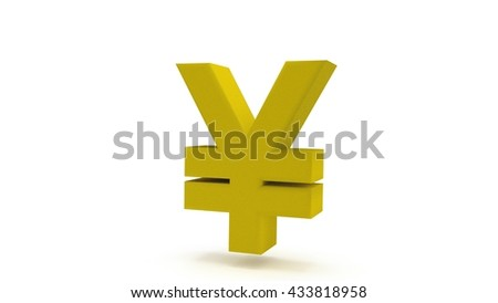 Gold / yellow Japanese yen isolated on white background. 3D render. - stock photo