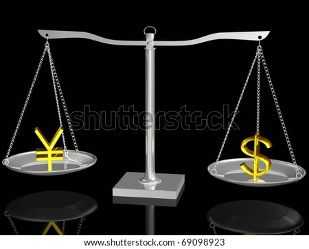 Gold Yen and Dollar on Silver balance on black isolated background - stock photo